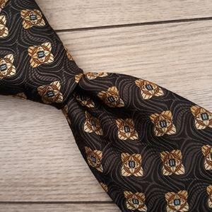 ROBERT TALBOTT BOC Black Gold Metallic Floral Tie